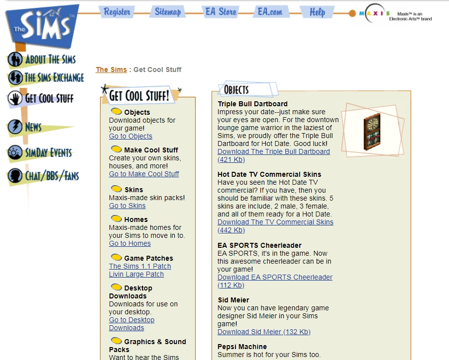 Original Sims 1 Get Cool Stuff Section