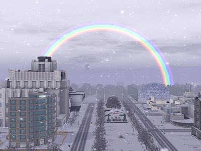 Sim Acres world in winter with rainbow