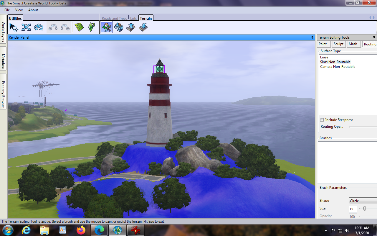 This is a hill that I don't want sims to climb, so I have covered it completely in routing paint.
